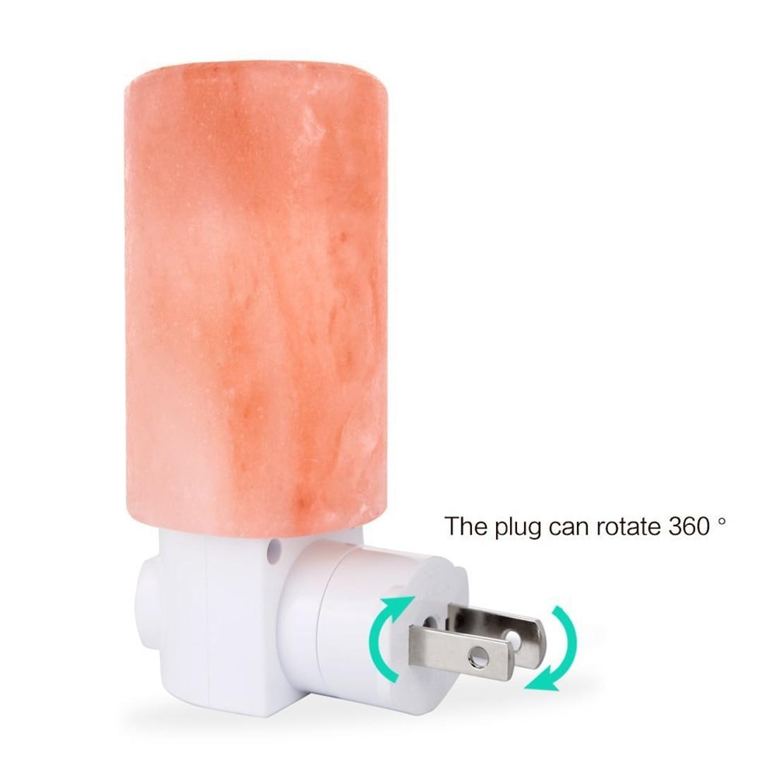 1pc US EU Plug Mini Cylinder Shape Wall Lamp Himalayan Salt Night Light Bedside Bedroom Home Decor Novelty Lighting