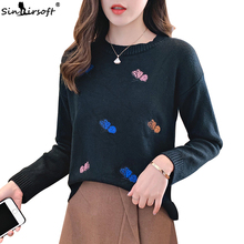Embroidered Fashion Autumn Sweaters Round Neck Pullover Womens Pink Sweater Loose Long-sleeved 2019 New Hot