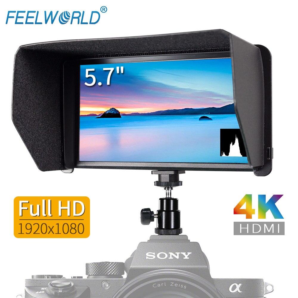 Feelworld 5.7 Inch IPS Full HD 1920x1080 4K HDMI Video Monitor for Canon Nikon Sony DSLR Camera Gimbal Rig F570