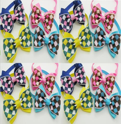 100pc lot 2017 New Pet Dog Plaid Ribbon Bow Bowties New Arrival Ties Cute Dog Bow