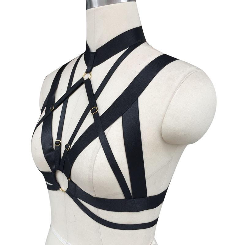 HTB1PUZSJpXXXXbkXFXXq6xXFXXXz Hot Women Spandex Adjustable Bondage Cage Bra Harness For Women