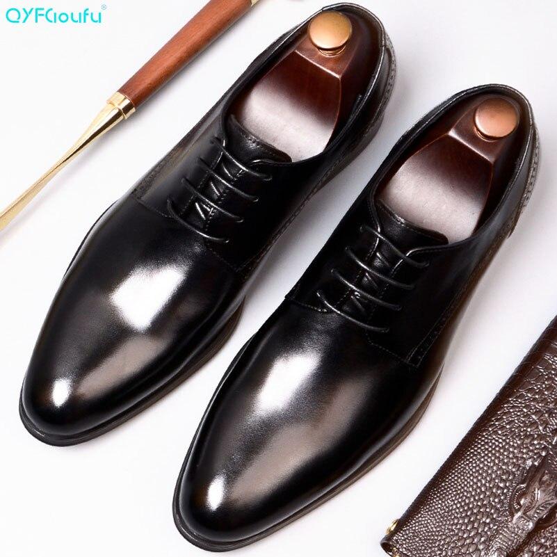 QYFCIOUFU Men Dress Shoes Genuine Cow Leather Brogue Wedding Shoes Mens Casual Flats Shoes Black Wine Red Oxford Shoes For Men