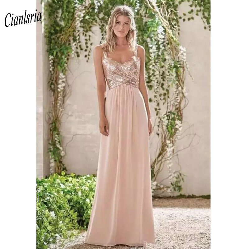 Us 89 99 20 Off 2019 Gold Sequined Bridesmaid Dresses Sweetheart Backless Beach Chiffon Wedding Guest Dress For Wedding Party Vestido Madrinha In