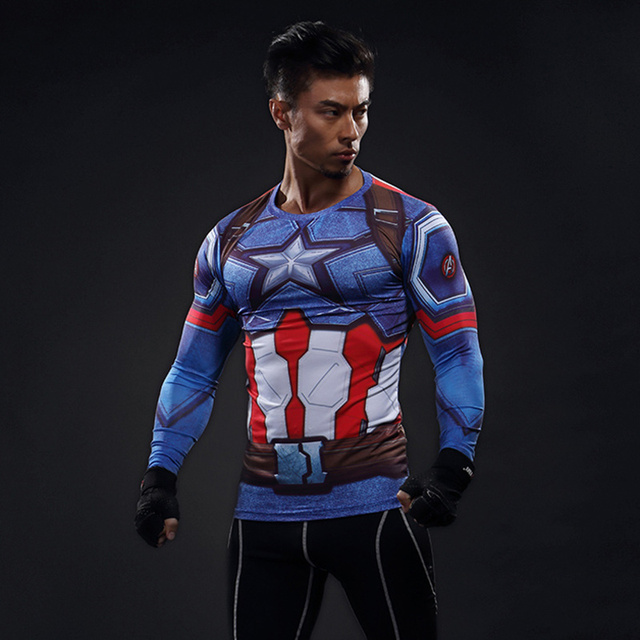 men long sleeve t shirts compression shirt captain america cosplay costume top male halloween costumes for