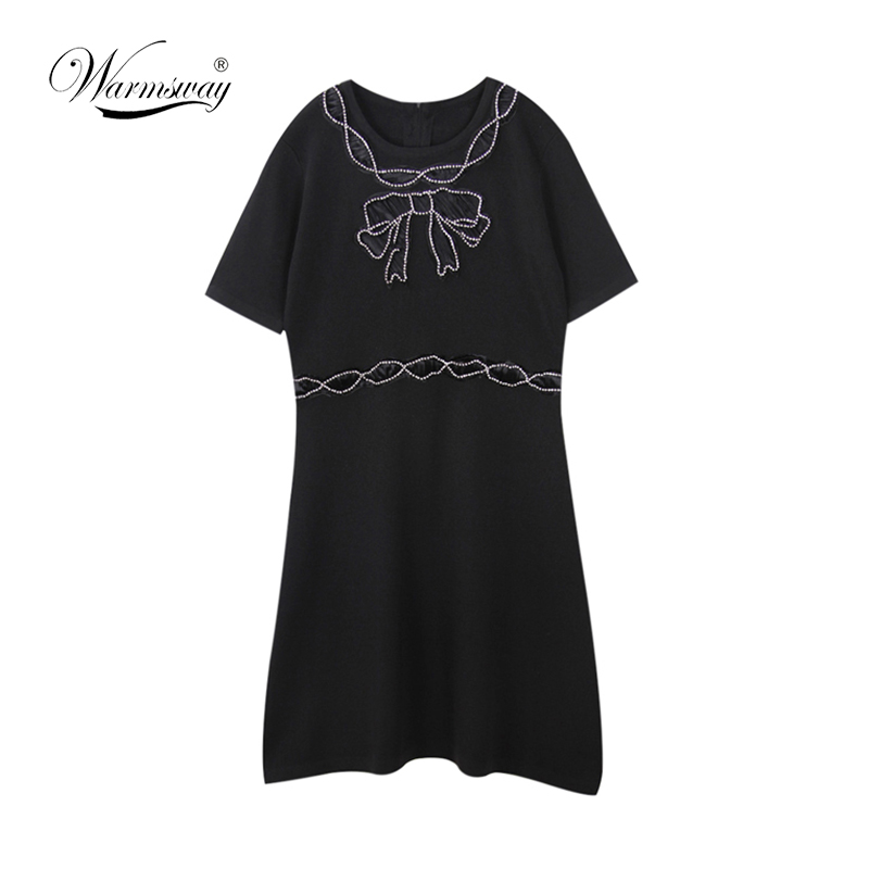 Runway Designer Knitting Dress 2018 Summer Tank Dress Women Brife Fashion Beading Bows A line Thin Sweater Dress C-063
