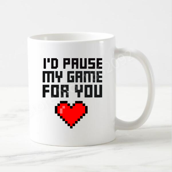Funny I'd Pause My Game for You Coffee Mug Novelty Gamer Mugs Cups for Girlfriend Geek Anniversary Wedding Gifts Love Heart 11oz