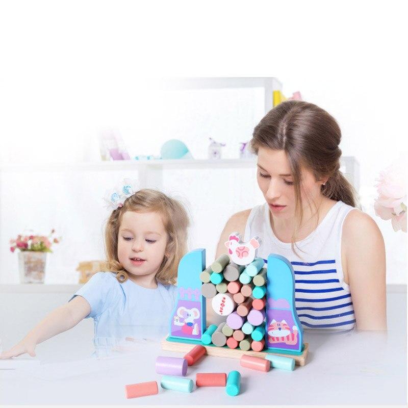 Blocs de tour en bois colorés jouets Domino empileur jeu de société famille/partie drôle extrait blocs de construction Jenga jouets éducatifs