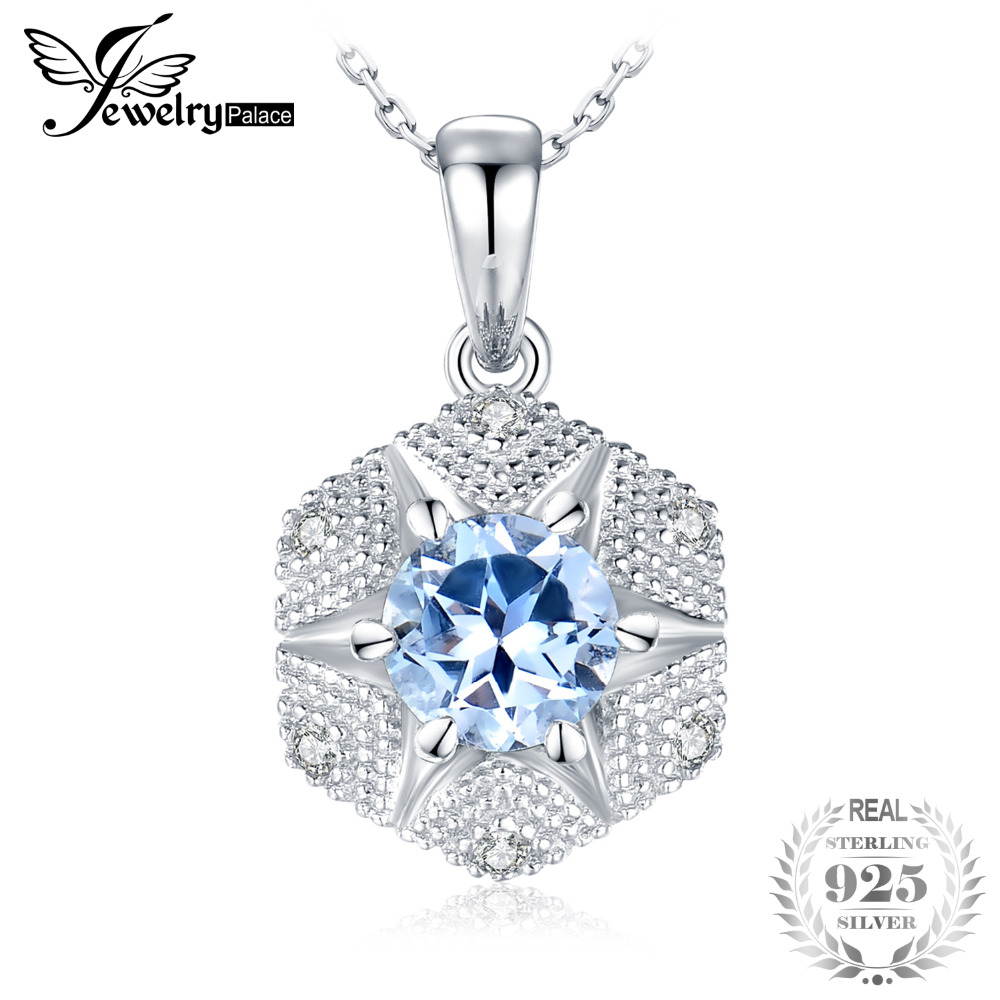 JewelryPalace 1ct Genuine Sky Blue Topaz Pendants Blossom Flower 925 Sterling Silver Pendants Necklaces Without Chain GemstoneJewelryPalace 1ct Genuine Sky Blue Topaz Pendants Blossom Flower 925 Sterling Silver Pendants Necklaces Without Chain Gemstone