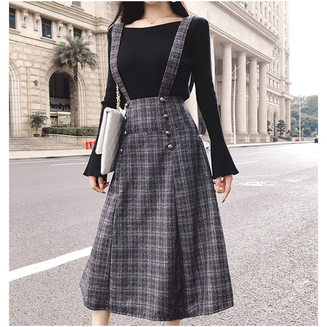 0f678109d8c Girls tartan skirts with shoulder straps front buttons sweet style autumn winter  women midi long plus size checkered skirt mujer