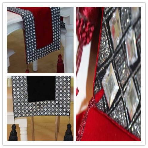 High End Luxury Short Floss Rhinestone Table Runner/tablecloth/table Cover  Two Colors