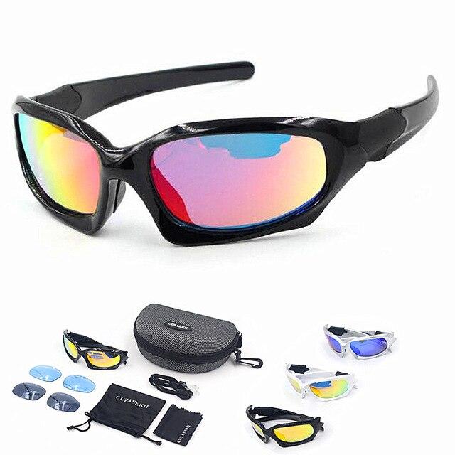 Cuzaekii 5 Lentille Polarisé Cyclisme Lunettes UV400 Extérieur Sports lunettes de soleil pour Hommes Femmes (Noir) sFHFE