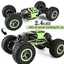 RC Carro 4WD Escala Do Caminhão Double sided 2.4 GHz Uma Transformação Chave All terrain Vehicle Varanid Escalada Carro brinquedos de Controle remoto