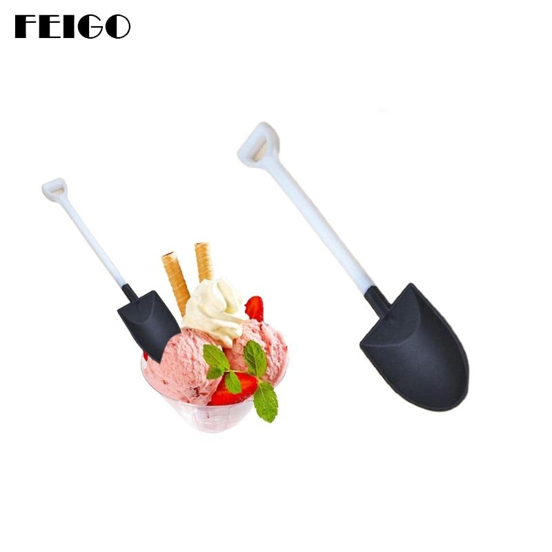 FEIGO Colorful Ice Cream Scoops 10Pcs/set Disposable Plastic Spoon Food -Grade Dig Watermelon Fruit F649