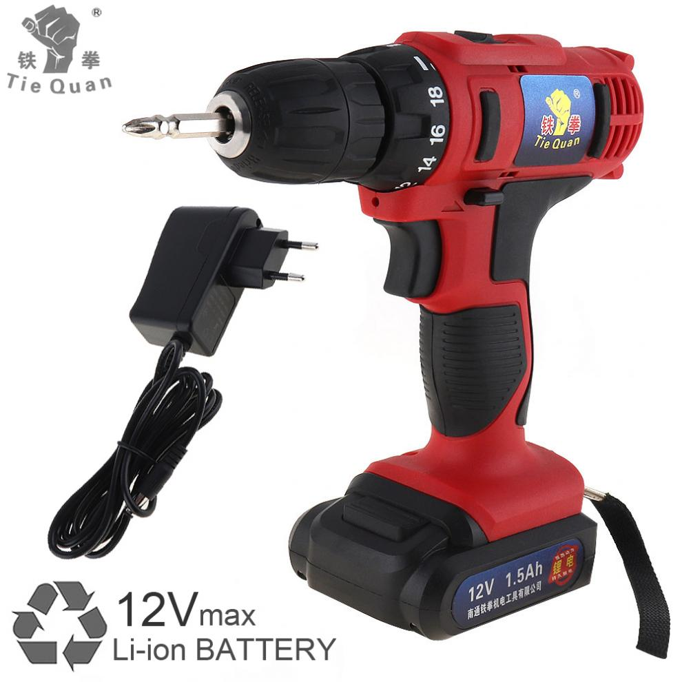 AC 100 - 240V Cordless 12V Electric Drill / Screwdriver with 18 Gear Torque and Two-speed Adjust for Handling Screws / Punching