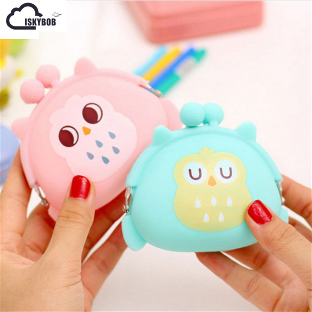 Coin Purses Women Purse for Coins Children's Wallet Kids Wallets Cute Cartoon Owl Silicone Jelly Change Bag Keys Pouch Carteira cute girl hasp small wallets women coin purses female coin bag lady cotton cloth pouch kids money mini bag children change purse
