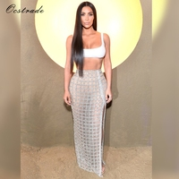 Ocstrade Celebrity Kim Kardashian Sexy Womens Two Piece Sets 2018 Summer White Crop Top and Sliver High Split Midi Skirt