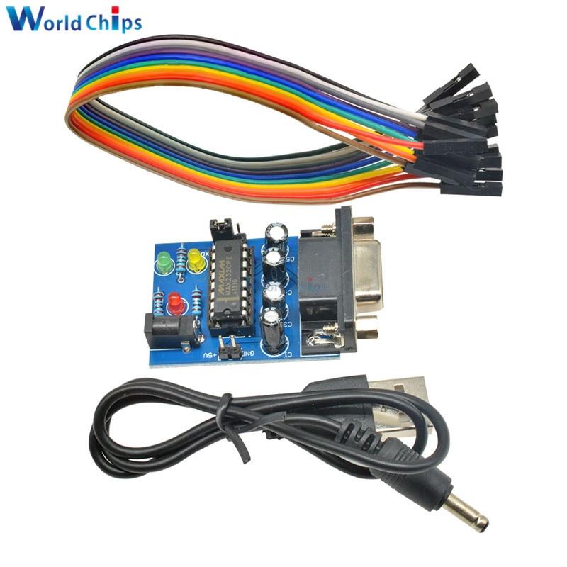 Модуль преобразователя MAX232 RS232 в TTL, встроенный модуль передачи MAX232CPE, всветодиодный ная мощность 3,3 В в 5 В, светодиодсветильник лампа питани...
