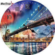 MEISTAR Vintage Wall Clocks Scenery  Design Silent Living Office Kitchen Room Home Decor Watches Large Art
