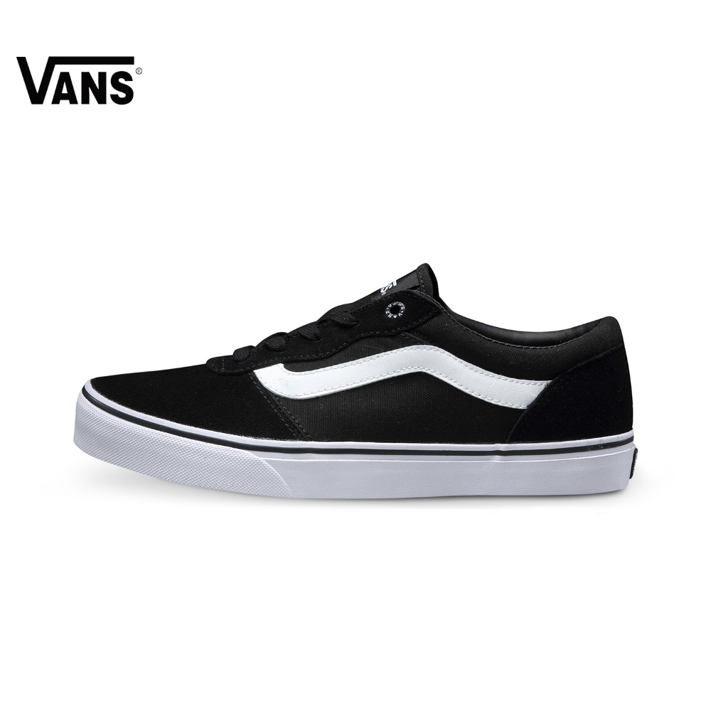 Original Vans White and Black Color Low-Top Men's Skateboarding Shoes Sport Shoes Sneakers free shipping