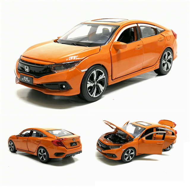 New 1/32 Scale HONDA 2019 CIVIC Simulation Toy Car Metal Diecast Model With Pull Back Sound Light Childrens Toys Birthday Gift
