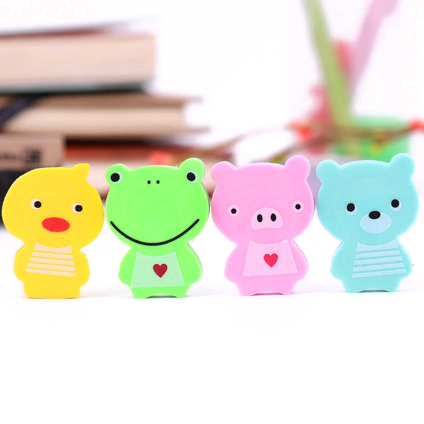 4pcs/lot Cute Cartoon Pencil Eraser Kawaii Mini Animal for School Student Stationery Kids Prize Toys Gift