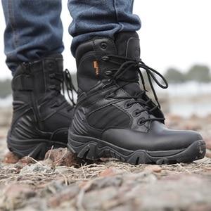 Image 3 - גברים של נעלי עבודת עור אמיתי עמיד למים תחרה עד טקטי אתחול אופנה אופנוע גברים Combat קרסול צבאי צבא מגפיים