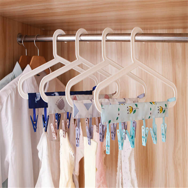 Multi Folding Portable Fabric Hangers Racks Sticky Dots Sticky Traveling Clothespin Fasten Bathroom Hanging Clips