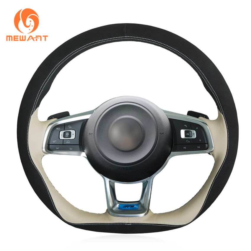 MEWANT Black Suede Black Beige Leather Steering Wheel Cover for Volkswagen Golf 7 GTI Golf R MK7 VW Polo GTI Scirocco 2015 2016 mewant diy car steering wheel cover black suede for volkswagen vw golf 7 gti golf r mk7 vw polo gti scirocco 2015 2016