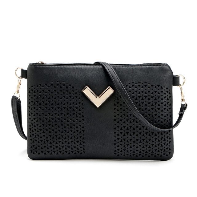 New Women Small Casual Day Clutch Fashion Women Shoulder Messenger Bags Solid Envelope Hollow Out Black Crossbody Evening  Bag