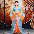 Antiga feminino dress filme a rainha traje de fadas tang terno hanfu chinês roupa tradicional arrastando costume dress