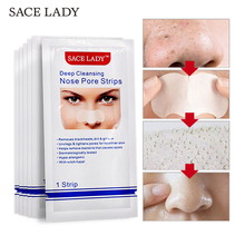 SACE LADY Blackhead Remover Mask 6 pcs Nasal Strips Black Head Nose Dot Spot Peel Off Sticker Face Acne Whitehead Pore Cleaner