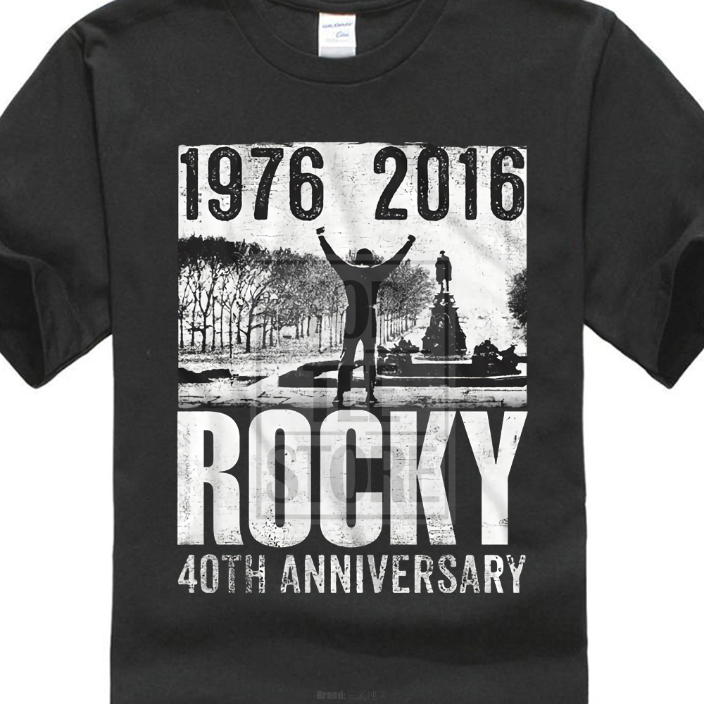 T-Shirts Sizes S-3XL New Authentic Mens Rocky 40th Anniversary White T-Shirt