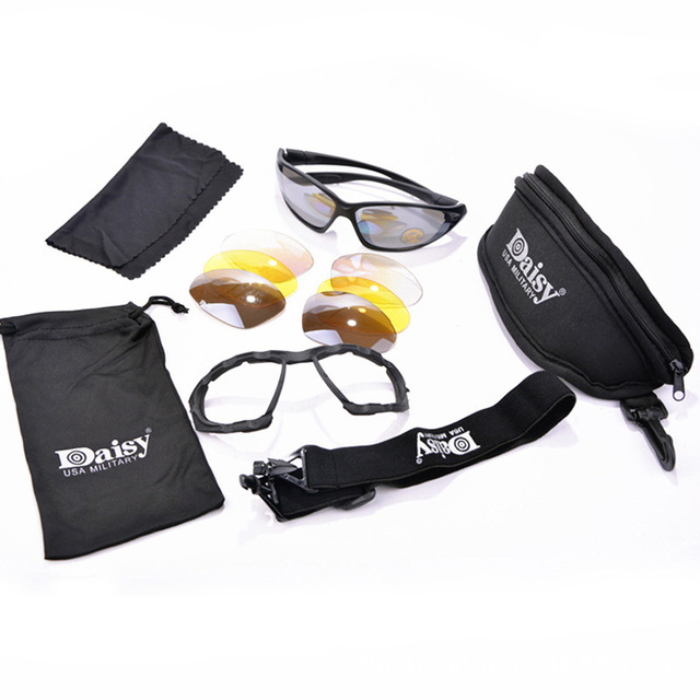 Daisy C4 Military Sunglasses 4 Lens Kit,Outdoor Hiking Glasses Sports Camping Goggles Windproof Goggles Desert Eyewear