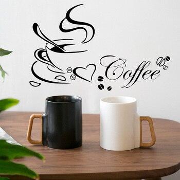 Taza de café corazón vinilo cita pared pegatinas restaurante cocina extraíble DIY decoración arte papel tapiz