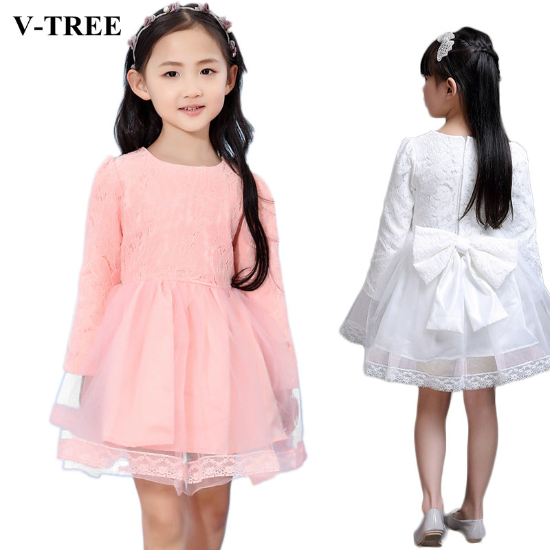V-TREE Girls Princess Dress Lace Dresses For Girls Ball Gown Girl Wedding Dress Kids Party Dress Child Costume Brand Clothing erapinky girl dress kids girls backless dress bow lace ball gown party dresses easter dress for girls 8year old child clothes