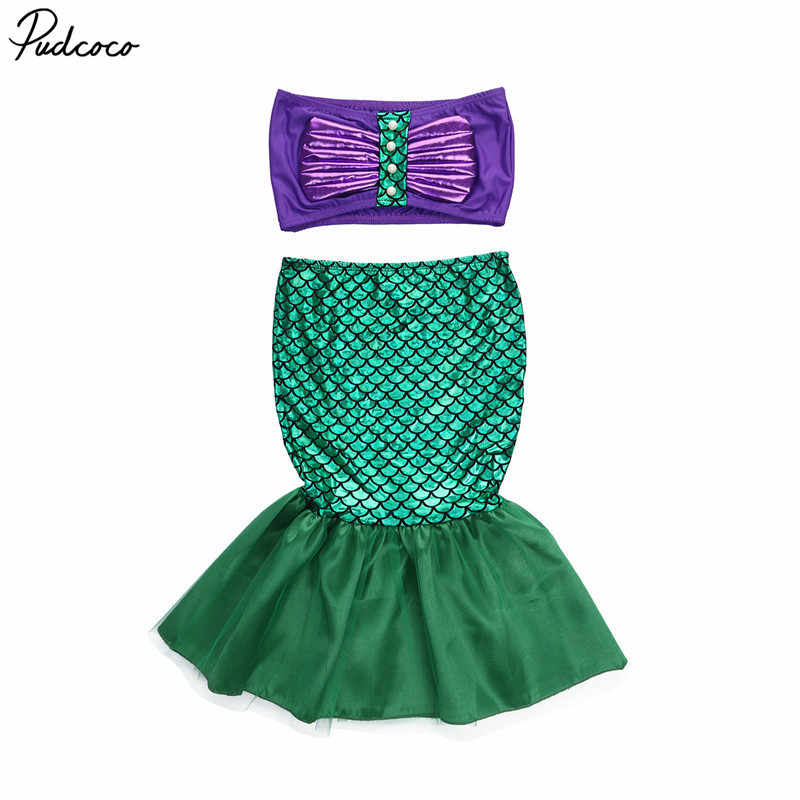 mermaid tail princess ariel dress cosplay costume kids for girl fancy green dress summer Cute Baby Girl Party Clothes