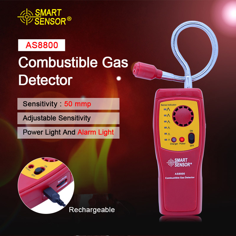 Digital combustible gas analyzer hand held port flammable gas Leak Detector with Sound Light Alarm Battery