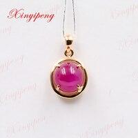 Xinyipeng18K oro rosa intarsiato ciondolo rubino naturale stile belle donne modello