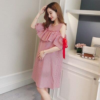 2019 Sweet Summer women s casual dress off-shoulder maternity dress  pregnancy clothes women dress Strap Chiffon Blue Red M-2XL 8f20b82e9