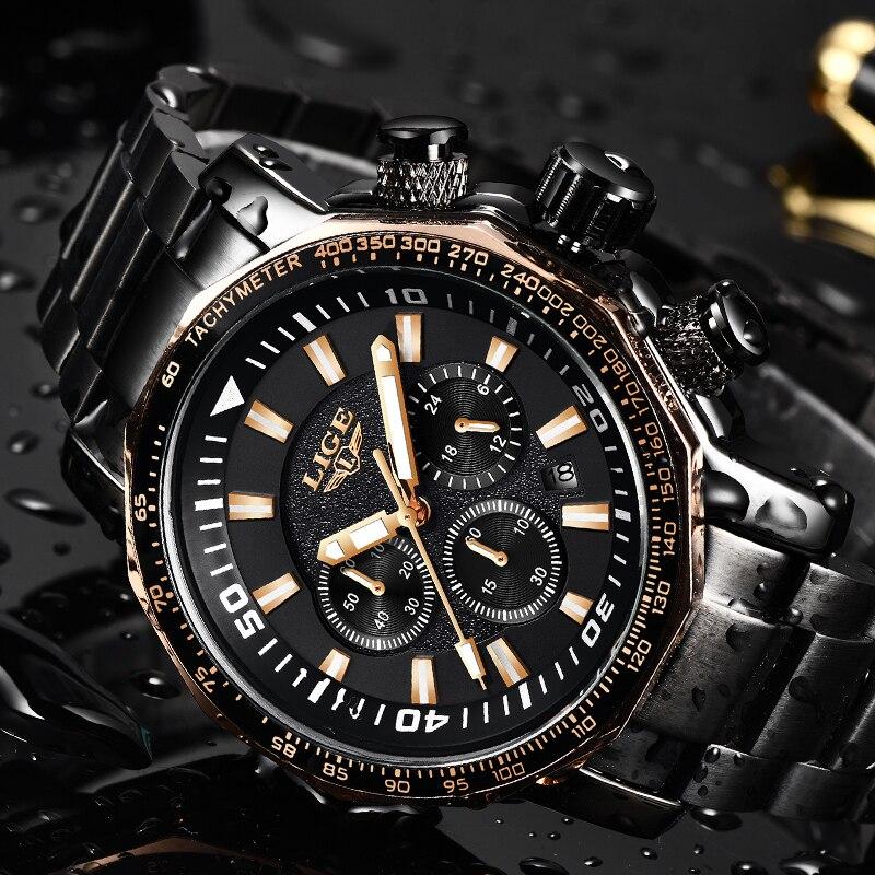 цена на LIGE Top Luxury Brand Men's Quartz Watches Business Big Dial Fashion Casual Waterproof Stainless Steel Black Watch Male Clock