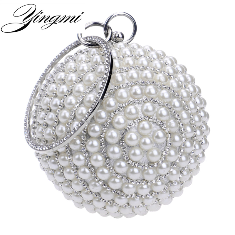 YINGMI Circular Shaped Women Evening Bags Diamonds Metal Beading Day Clutch Small Chain Shoulder Handbags For Party Wedding seiko настенные часы seiko qxc230sn коллекция интерьерные часы