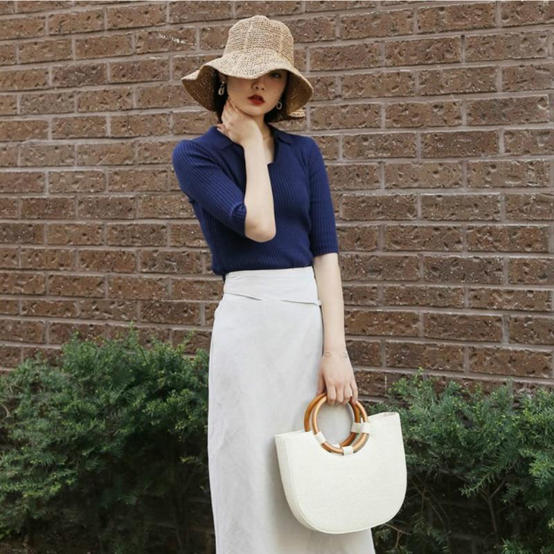 Dekle Poletno slamnato klobuk za odrasle Plaža Sončna kapa Foldalbe - Oblačilni dodatki