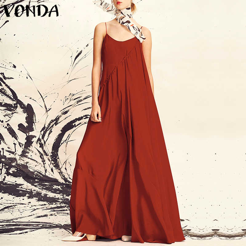 New VONDA Women Long Maxi Dress 2019 Summer Beach Sundress Casual Loose Sexy Spaghetti Strap Sleeveless Plus Size Vestidos