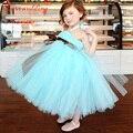 Nova chegada 2015 azul Tulle Tutu bonito menina vestidos baratos vestidos de dama de honra vestido de menina infantil
