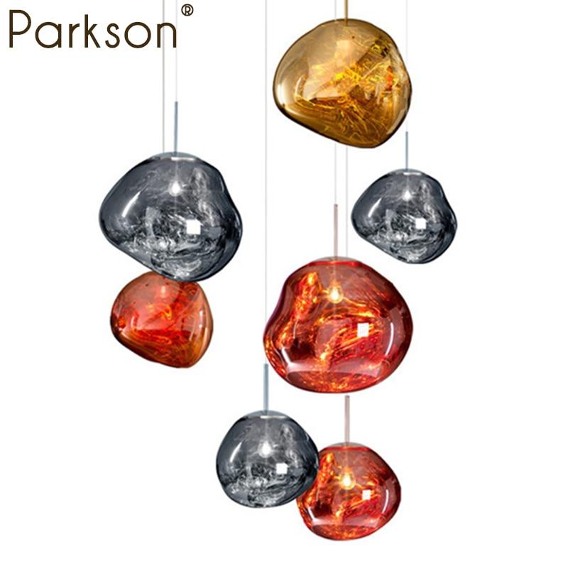 Modern tom dixon luzes Pingente De Vidro Irregular Lava D20/30/40 cm Ouro Prata Cobre Espelho Hanglamp industrial decoração luminaria