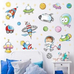 Космос астронавт мультяшная Наклейка на стену детская комната космическая планета галактика ракета корабль декоративные настенные наклей...