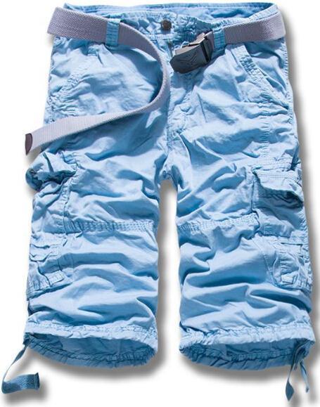 Горячие Летняя распродажа Для мужчин армия грузов работы Повседневное бермуды Шорты для женщин Для мужчин модные штаны хлопок Шорты для женщин - Цвет: Синий