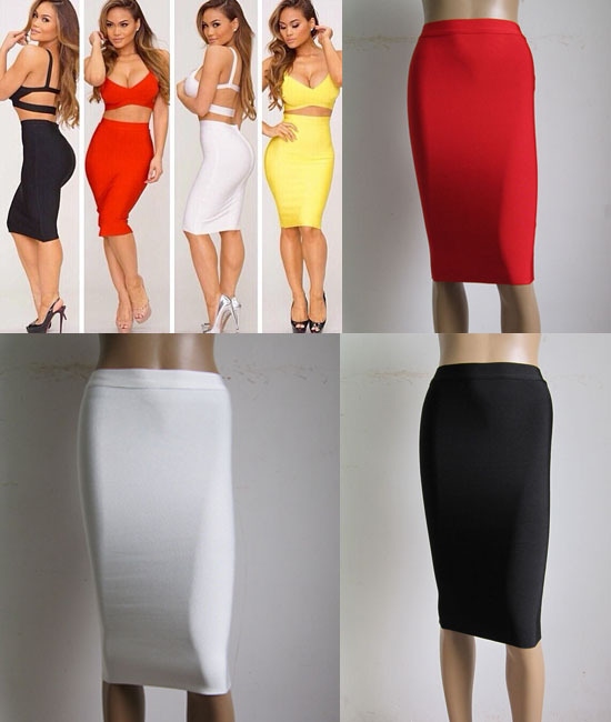 Free Shipping Factory Outlet Wholesale variety of colors Stretch knit Fashion with Celebrity Bandage Skirt (H0770)