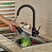 KINSE Латунь Материал Черный Живопись Кухонный Кран Прочный Рот Вытащить Кран, Краны Смесители для Кухни