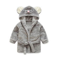 Купить с кэшбэком Children's Animal Bathrobe Baby Boy&girl Bathrobe Cute Mouse Kids Bath Robes Boys Warm Pajamas Children's Bathrobes